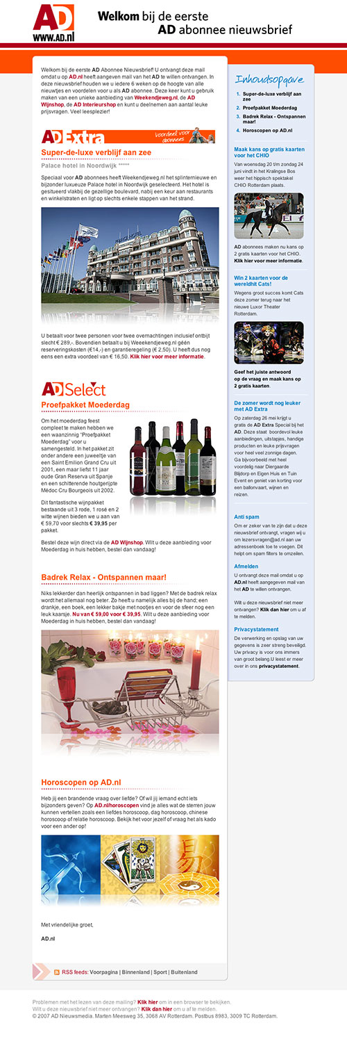 AD Lezersmarkt E-mail newsletter