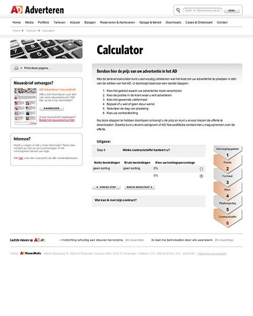 AD Adverteren Website Tarieven calculator