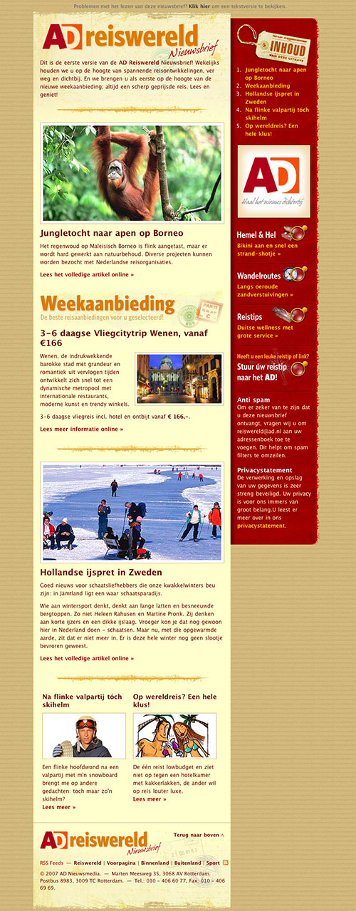AD Reiswereld E-mail newsletter